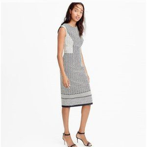 J. Crew Paneled Dress, Geometric Black Cream 16